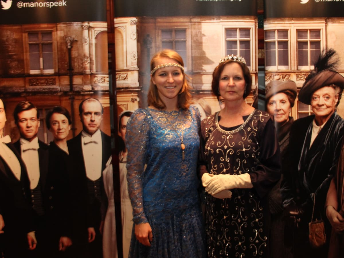 Hannah and Eileen Dyer at Downton Abbey Manor of Speaking sneak preview