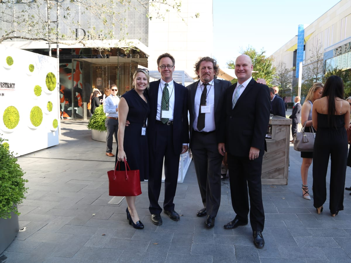 River Oaks District grand opening isa Pope-Westerman (Houston), Peter Merwin (Houston office), Duncan Paterson (Los Angeles), Brooks Howell (Houston).