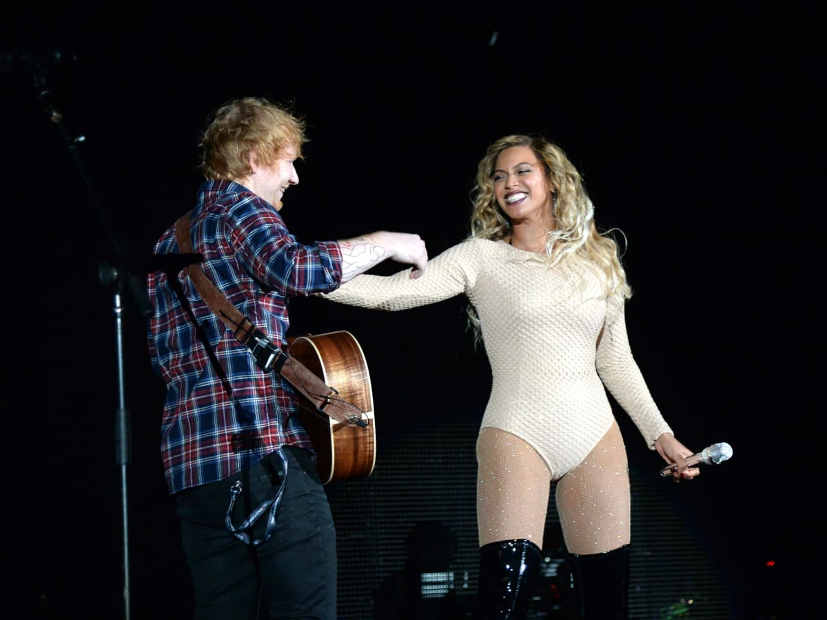 Beyonce and Ed Sheeran at 2015 Global Citizens Festival