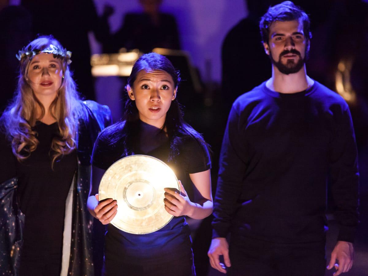 Megan Samarin, Purem Jo and Ben Edquist in Houston Grand Opera production of O Columbia