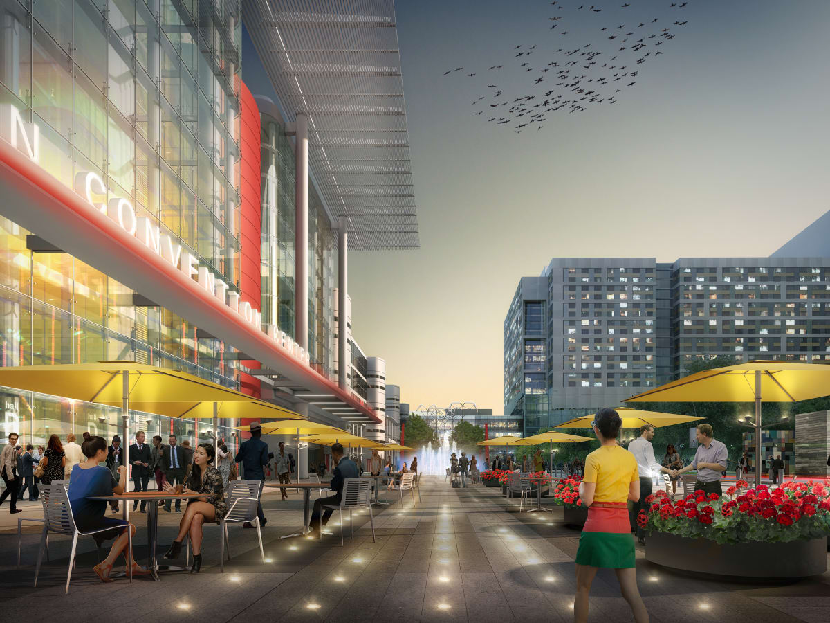 Houston, George R Brown revamp, September 2015, patio seating Avenida de Las Americas