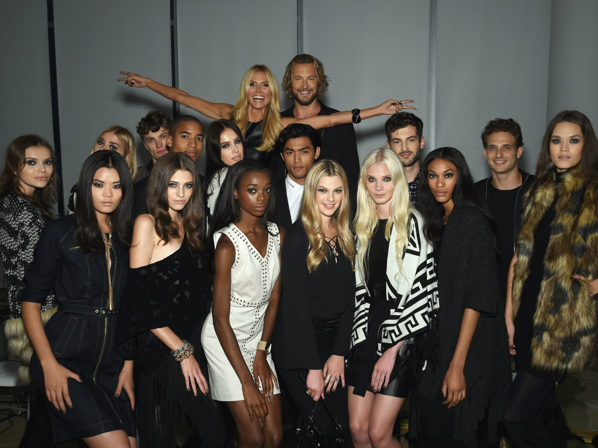 Heidi Klum with models at Macy'c INC party at New York Fashion Week