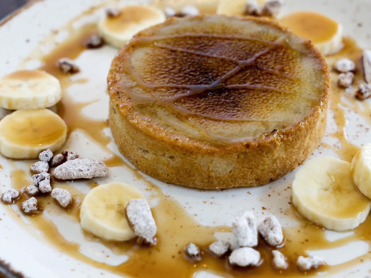Pour Society Bananas Foster creme brulee