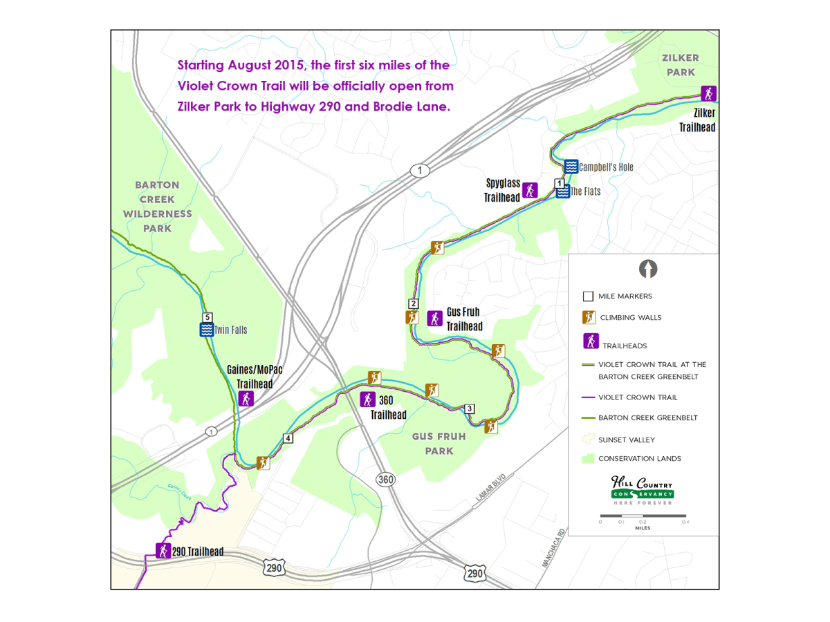 Violet Crown Trail first segment map August 2015