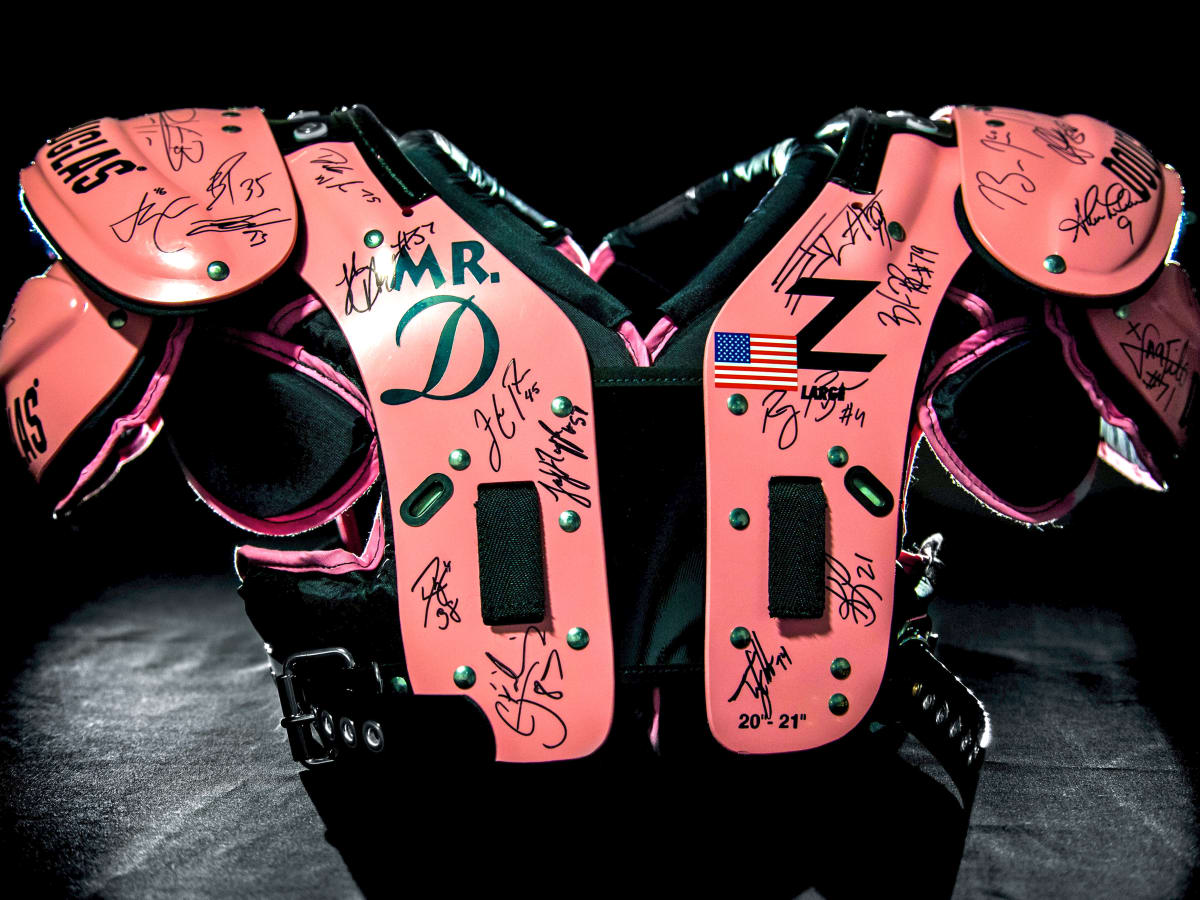 Houston, The Rose Pink Pads, July 2015, autographed shoulder pads