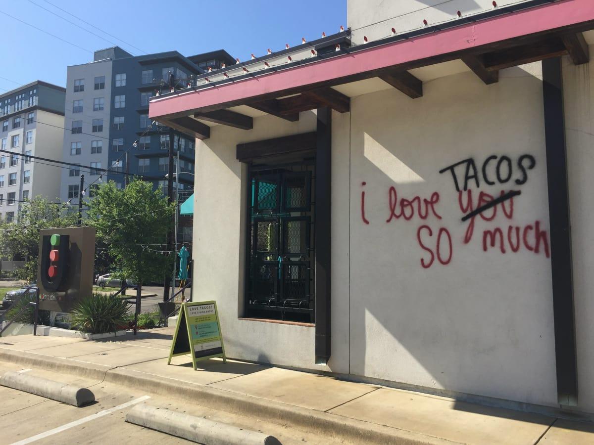 I Love Tacos So Much mural at Urban Taco