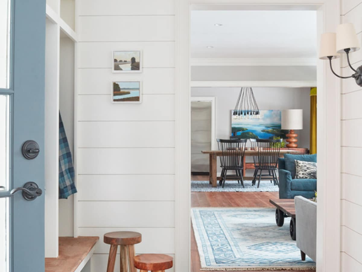Shiplap in a mudroom