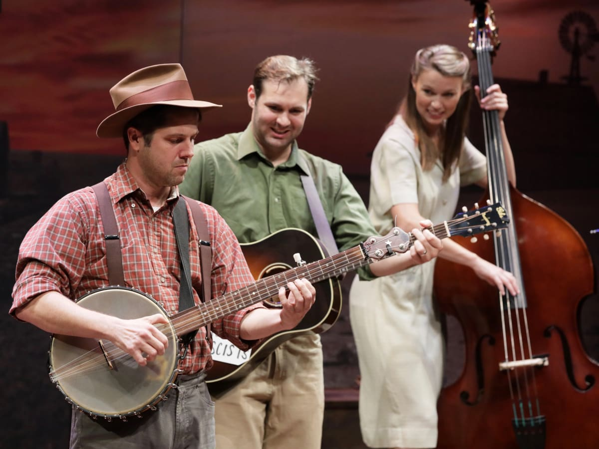 Stages Theatre-Woody Sez Spiff Wiegand, Ben Hope and Katie Barton
