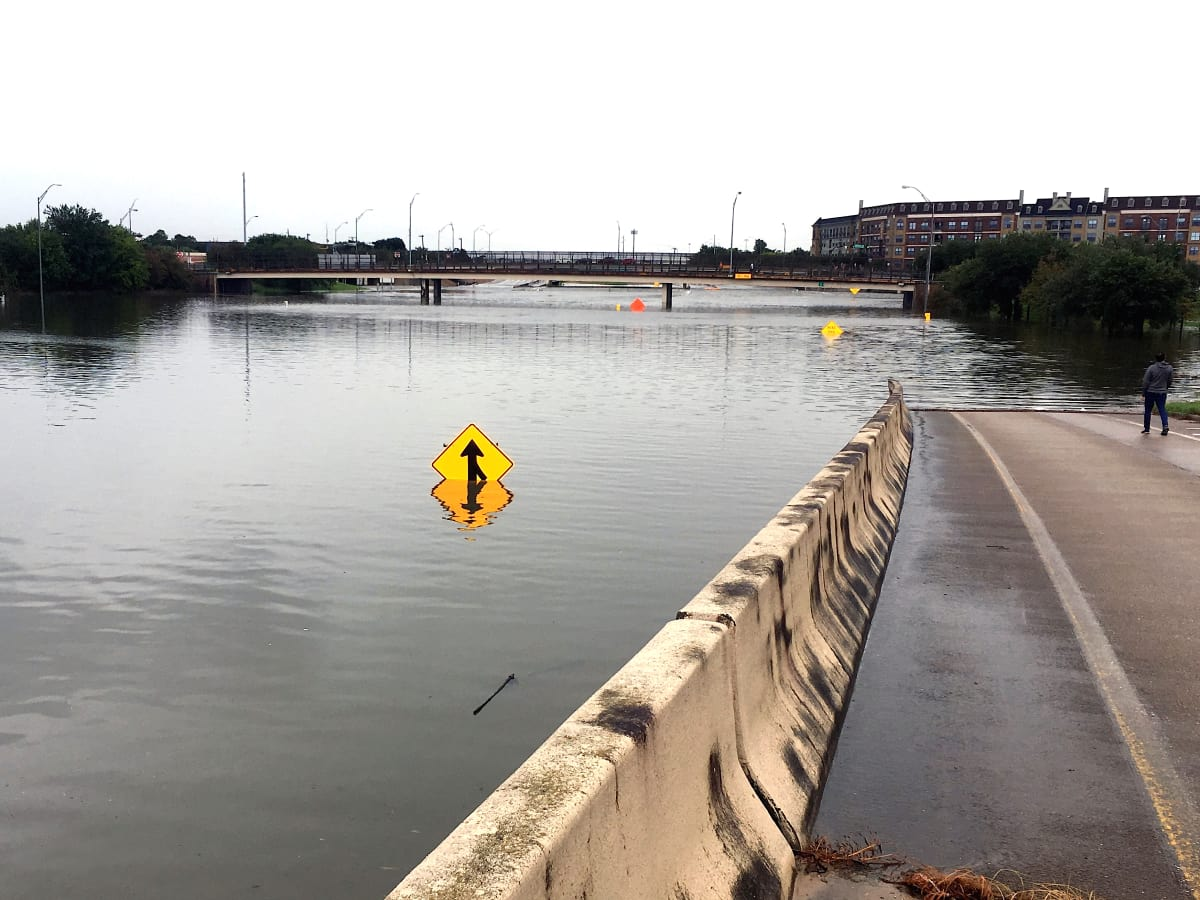 Houston, Hurricane Harvey, flood photos, Highway 288, southbound onramp at McGregor Way