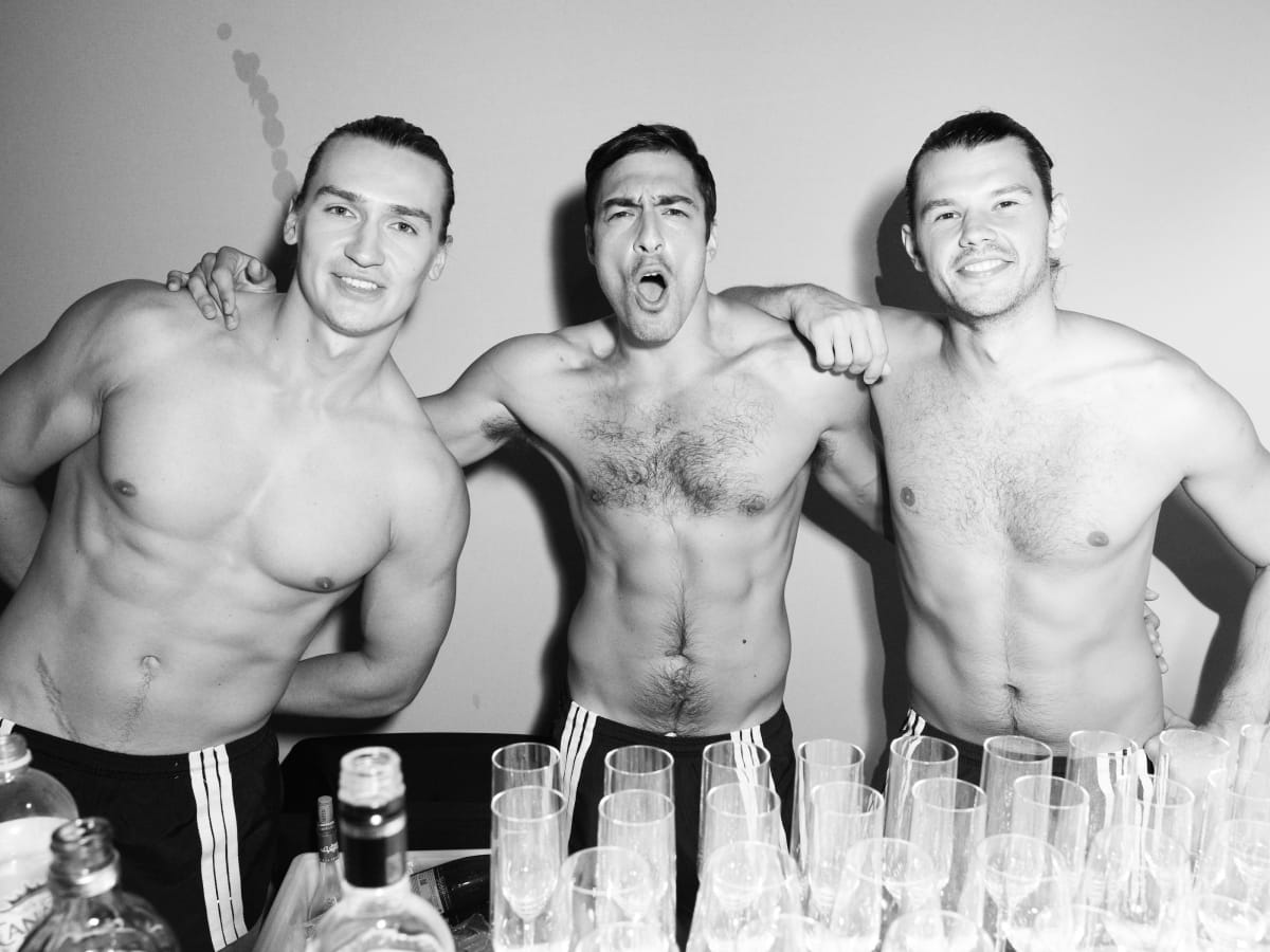 Waiters at Tom Ford party after runway show