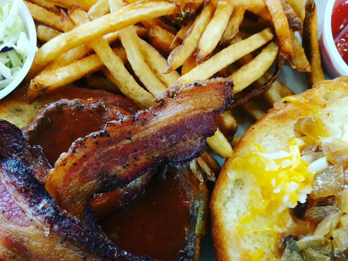 Monument Cafe burger and fries