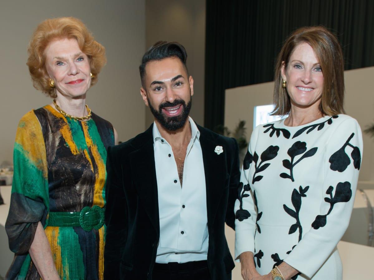 Patricia Jeffries, Fady Armanious, Stephanie Tsuru at Oscar de la Renta fashion show at MFAH