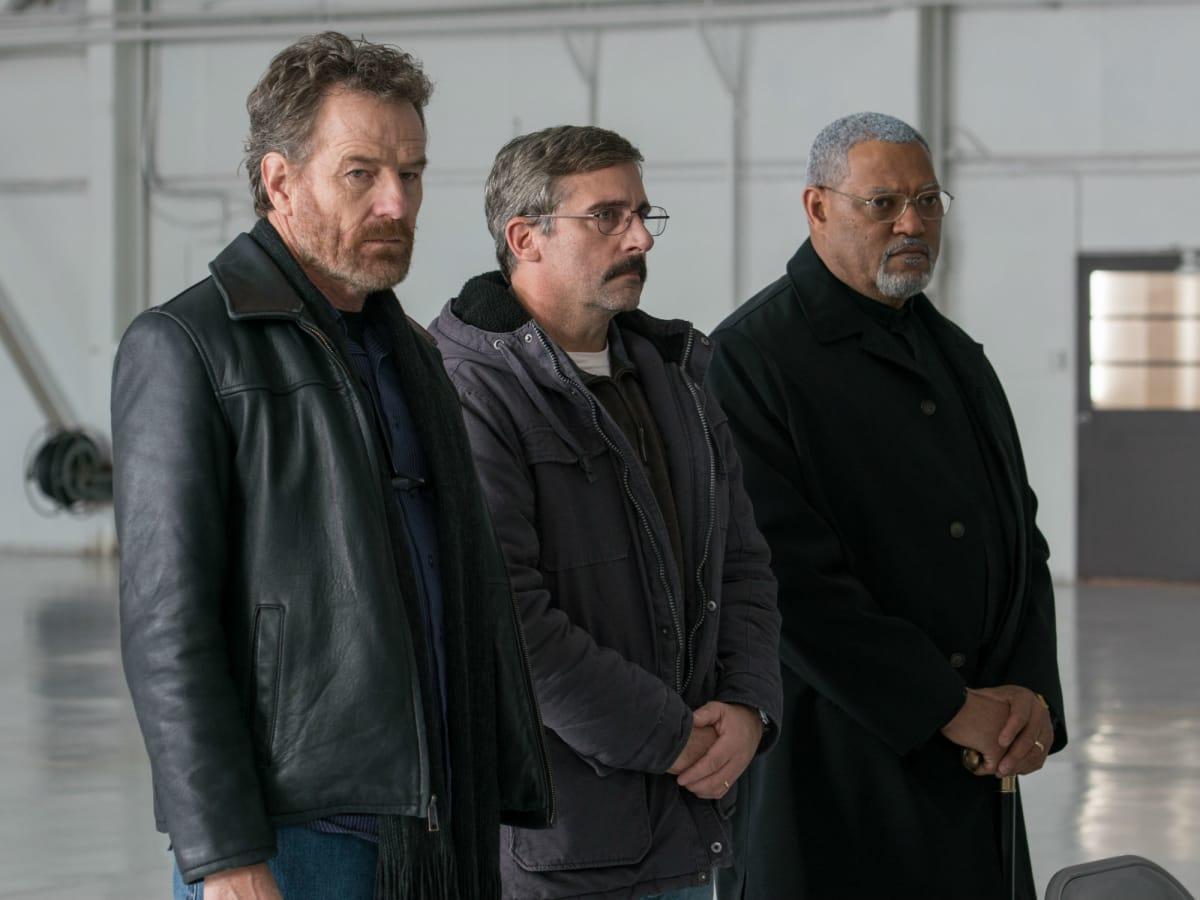 Bryan Cranston, Steve Carell, and Laurence Fishburne in Last Flag Flying