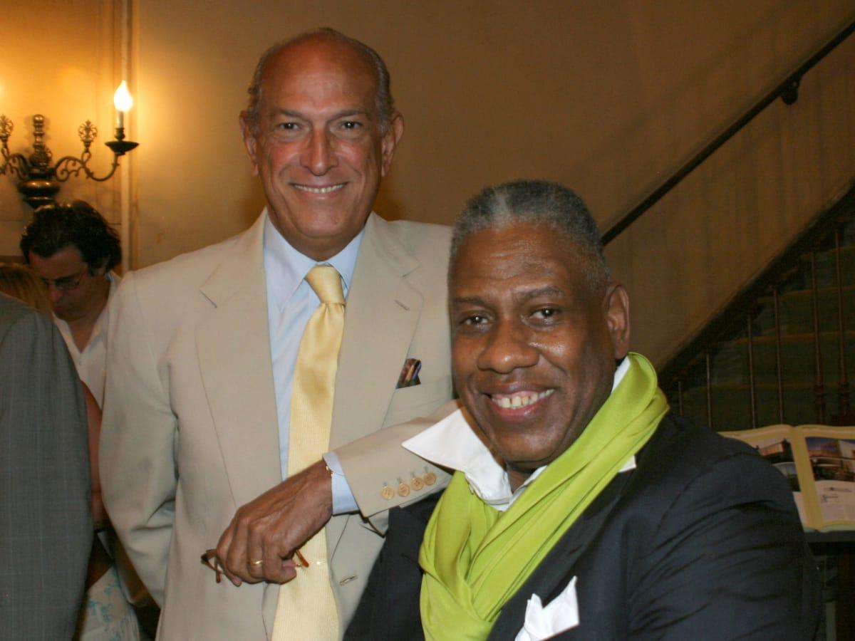 Oscar de la Renta and Oscar de la Renta at book signing at Rizzoli Books, New York, July 2005