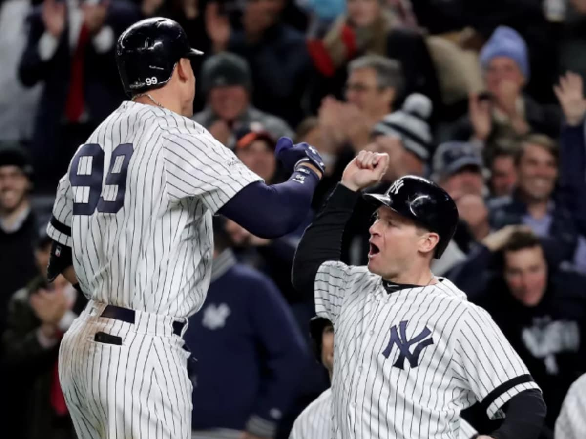 New York Yankees player Aaron Judge celebrates with Chase Headley after his three-run homer in win over Astros