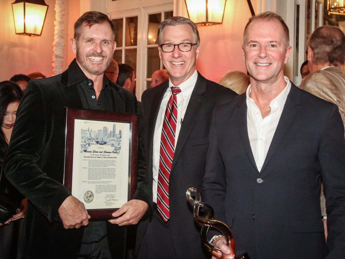 Marcus Sloan, Stephen Costello, Shannon Hall at Legacy Cocktail Party