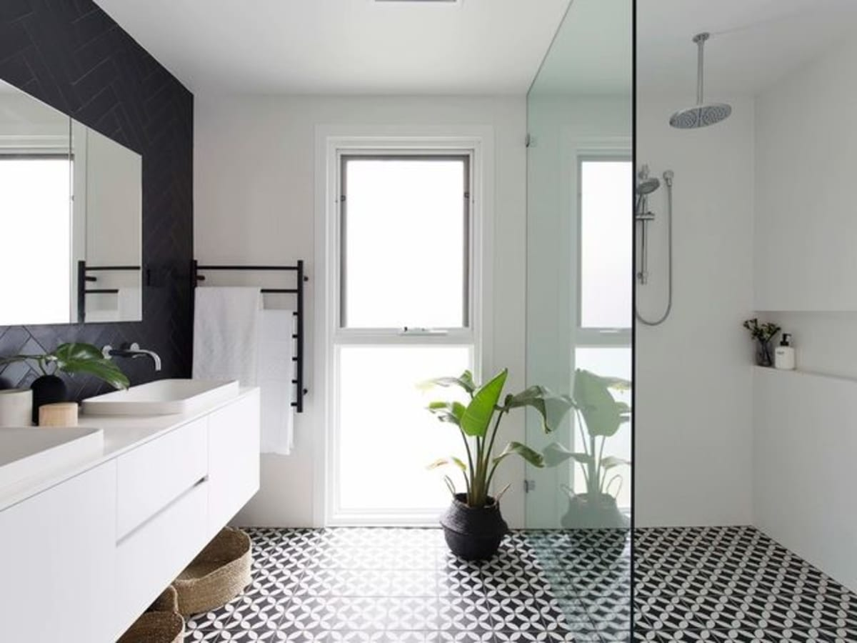 Houzz bathroom remodel tiled shower