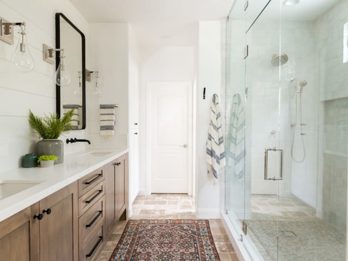 Houzz bathroom remodel with shiplap