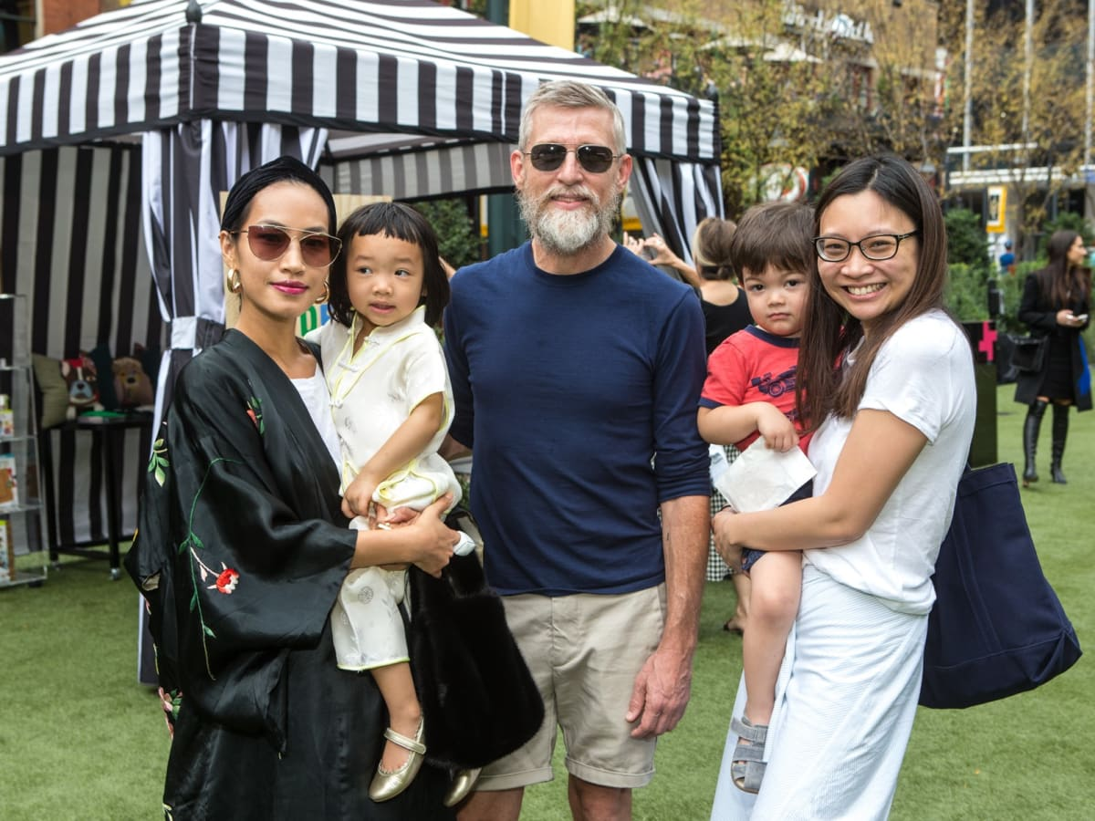 Nini and Sage Nguyen, Todd Oldham, Alyson and Sebastian Nakamura, Puppies in the Park 2017