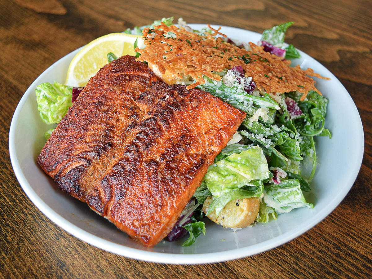 Blackened salmon Caesar salad
