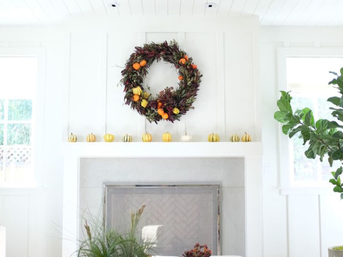 Mantel with holiday wreath