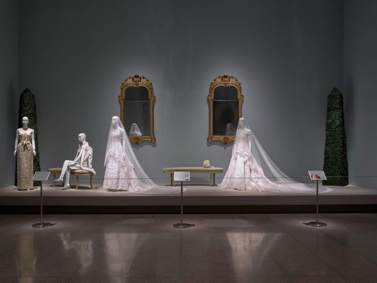Oscar de la Renta MFAH exhibition wedding gowns Eliza Bolen and Amal Clooney