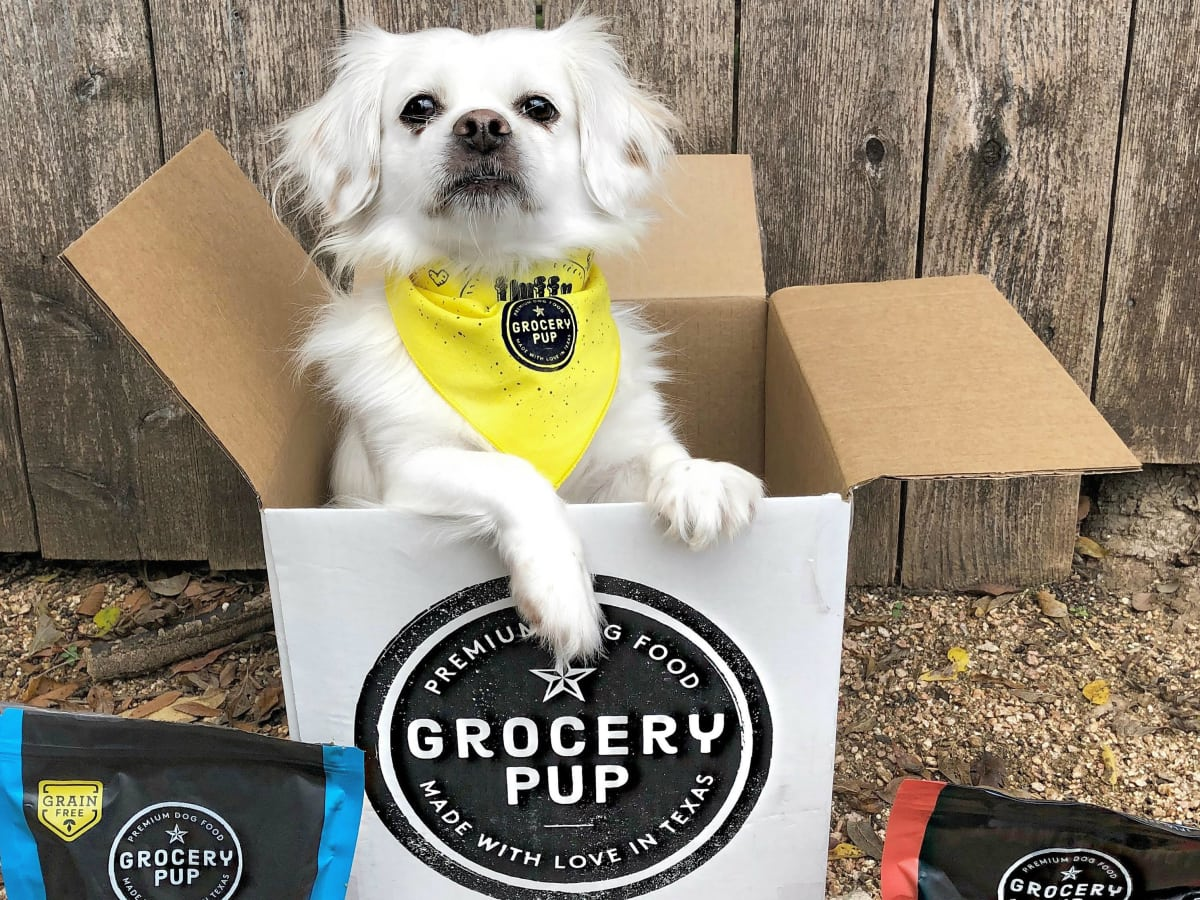 Grocery Pup food and cute dog