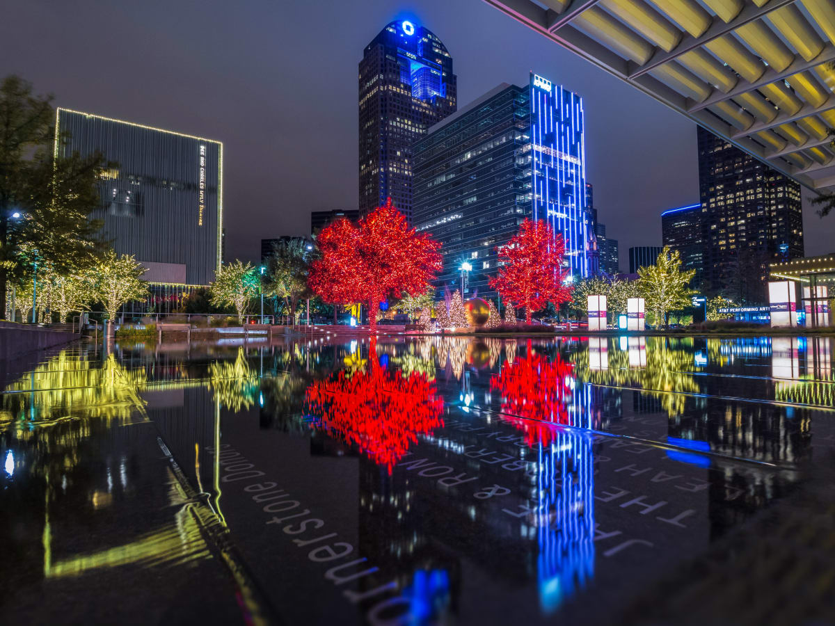 Dallas Arts District with holiday lights