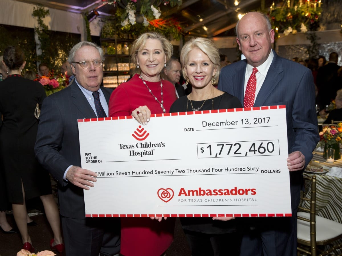 Houston, TCH Ambassadors holiday party, December 2017, Mike Linn, Carol Linn, Helen Fraser, Dr. Charles Fraser
