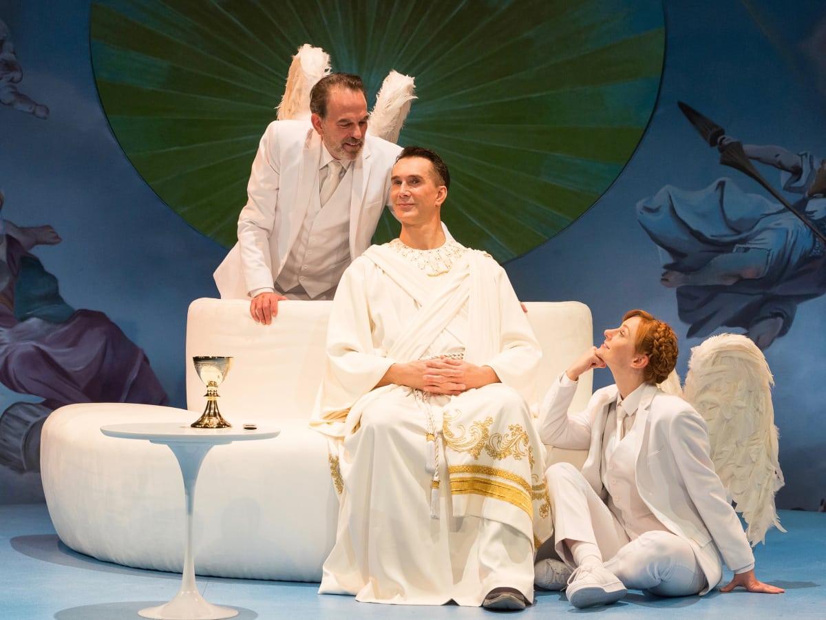 Alley Theatre: Act of God, Todd Waite, John Feltch, Emily Trask