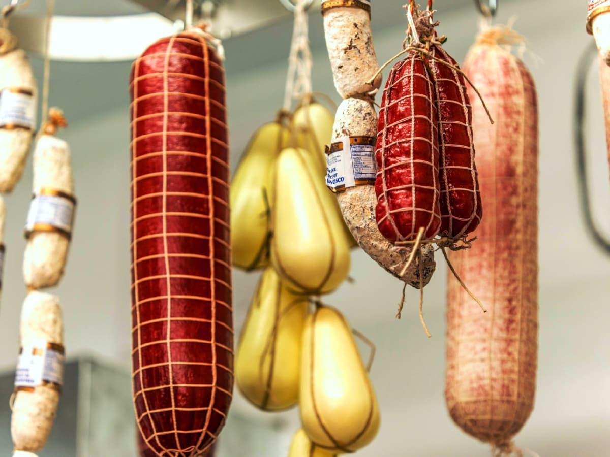 Italian American Grocery Heights hanging meats and cheeses