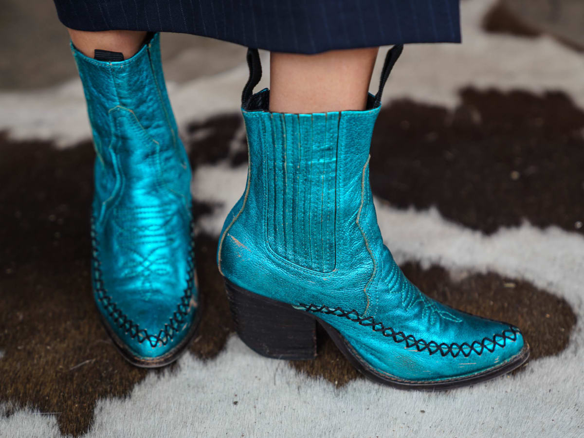 SXSW Street Style 2018 Madison Rozakos Jeffrey Campbell Teal Boots