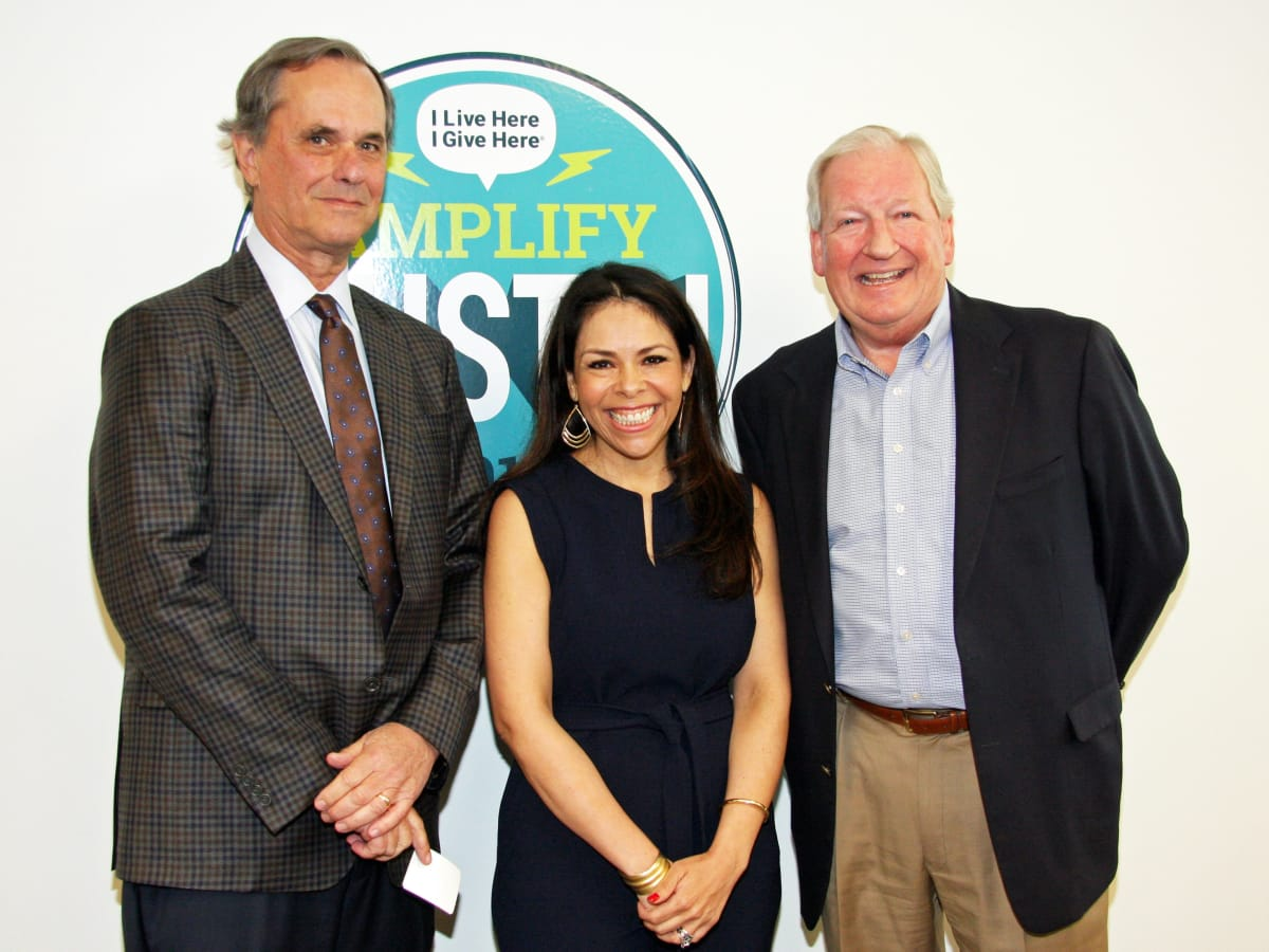Peter Pincoffs (St. David's Foundation, Board Chair), Celeste Flores (Executive Director, I Live Here I Give Here), Earl Maxwell (CEO at St. David's Foundation) at St. David's Foundation