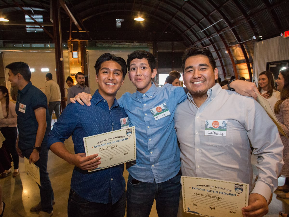 Explore Austin Graduating Explorers Gabriel R., Pedro R., and Issac P. PC Andy Sams.jpg