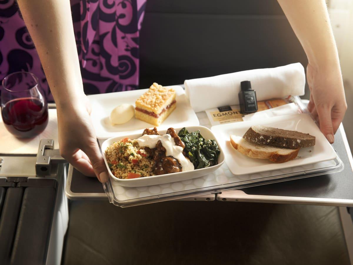 Air New Zealand lamb dinner