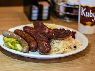 Sausage plate at Kuby's Sausage House in Dallas