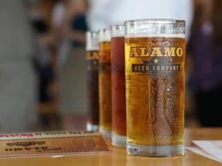 Alamo Beer Company glass logo San Antonio brewery