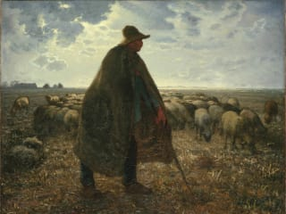 Jean-François Millet (French, 1814–1875). Shepherd Tending His Flock, early 1860s. Oil on canvas, 32 3/16 x 39 9/16 in. (81.8 x 100.5 cm). Brooklyn Museum, Bequest of William H. Herriman, 21.31.