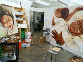 The studio of Zaeed Kala (MFA 2016) at the University of Houston