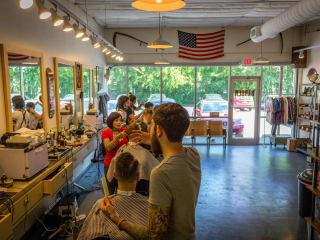 Shed Barbershop and Supply interior haircut