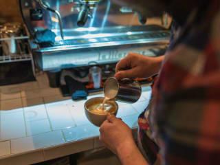 Cappuccino at Drugstore Cowboy coffee shop in Deep Ellum