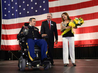 """Hall of Fame Inductee, Chief Warrant Officer 3 Romulo """"Romy"""" Camargo, Impact A Hero, Chairman of the Board, Dan Sullenbarger, Gabriela Camargo"""