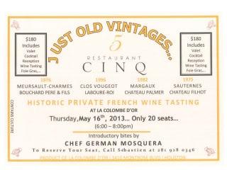 "Wine Tasting: ""Just Old Vintages"""