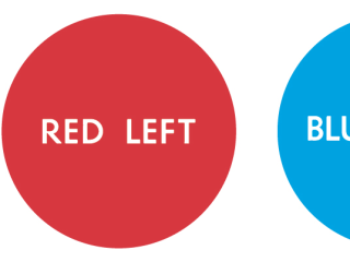 Red Left Blue Right 3-D art gallery grayDUCK