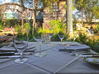 Brenner's Steakhouse patio garden table setting outdoors
