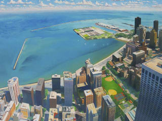 """""""Great Lake"""" painting by David Leonard on display at Davis Gallery for The Town & The City exhibit"""