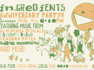 flyer for in.gredients anniversary celebration