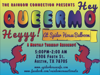 flyer for Rainbow Connection's Hey Queermo Heyyy!!!