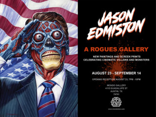 Jason Edmiston mondo gallery opening night postcard with They Live
