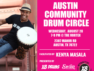 Austin Community Drum Circle with Kenya Masala flyer
